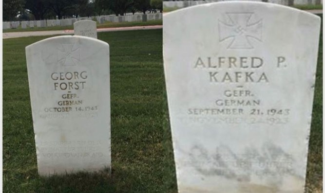 POW headstones inscribed with swastikas at Fort Sam Houston National Cemetery