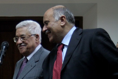 Rajoub (right) with Abbas