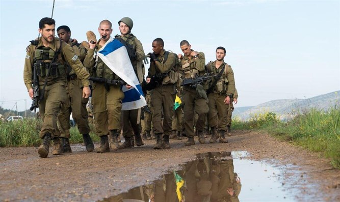 Golani soldiers completing their trek